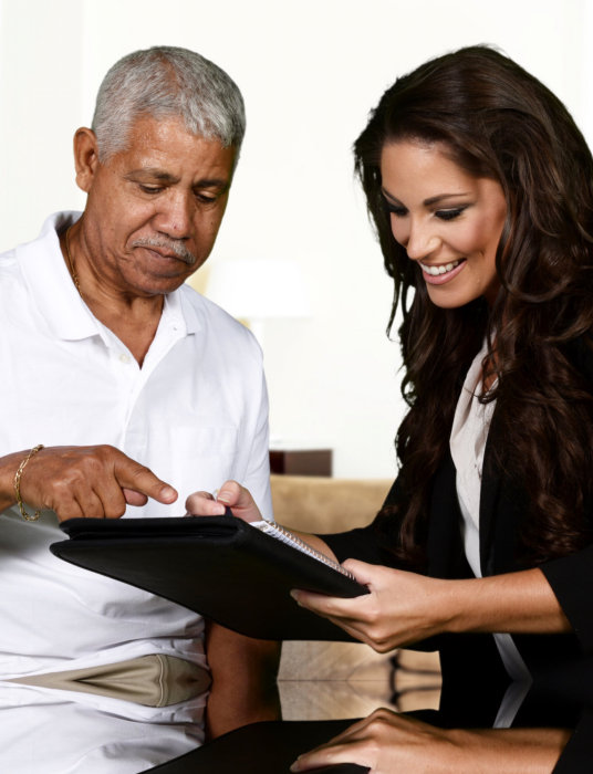 caregiver giving evaluation to patient