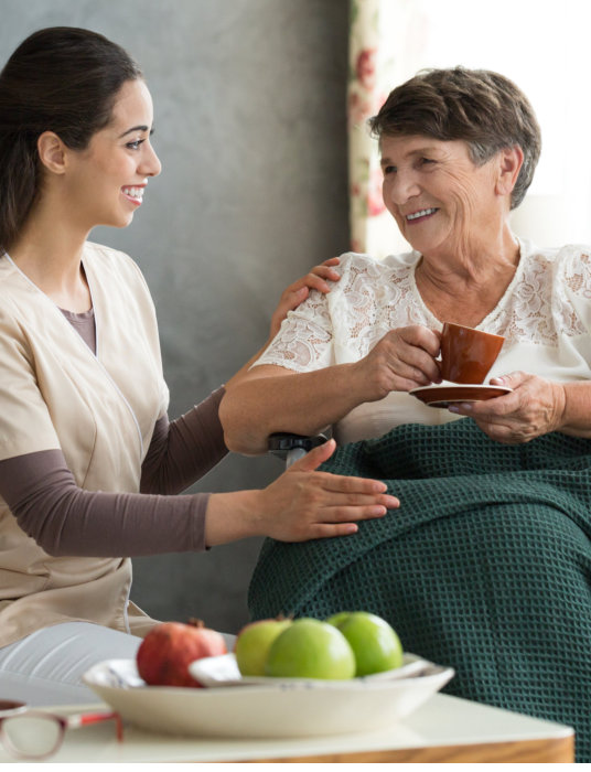caregiver giving patient her daily needs